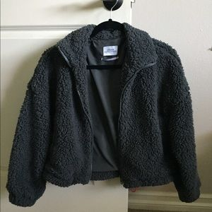 Urban Outfitters Drawstring Teddy Jacket